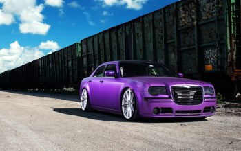 300,Chrysler,frontside,Purple,wheels