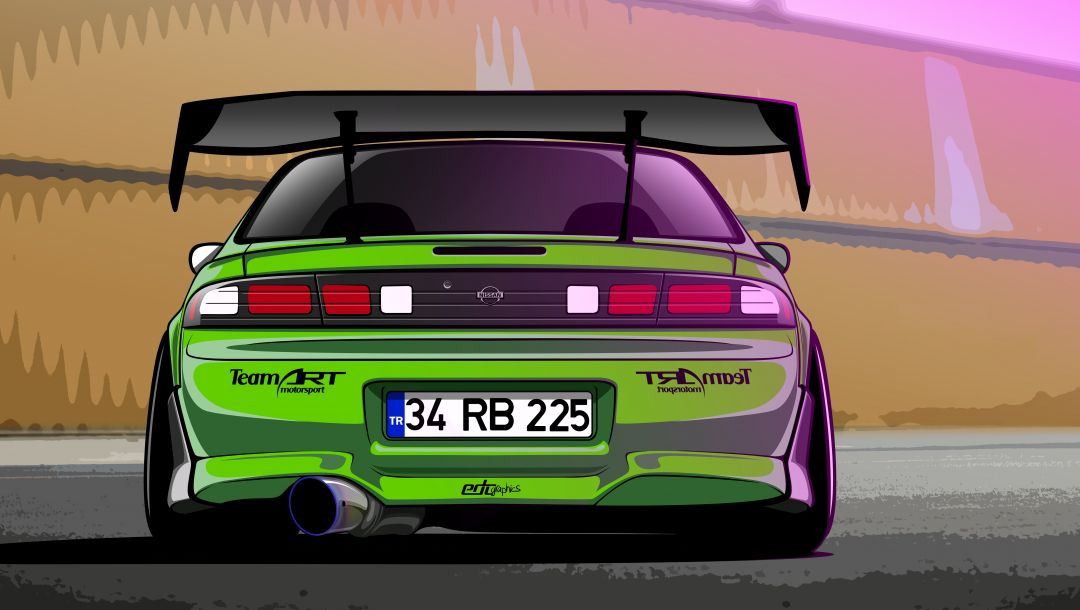 200sx,by edcgraphic,s14,drift spec vector