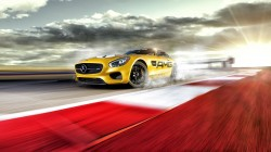 amg,Track,yellow,Race,drifting,gt s,mercedes-benz,smoke