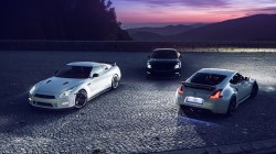 nissan,gtr,mountain,370z,White,Front,r35,black,sky,nigth,lights,moon,rear