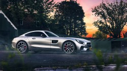 Color,ligth,amg,2015,beauty,silver,gt s,smoke,mercedes-benz,supercar,Sunset