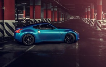 car,синяя,Nissan 370z,hq wallpaper