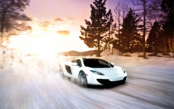 sportscar,Exotic,snow,Sunset,fast,mp4-12c,winter,White,Mclaren,supercar