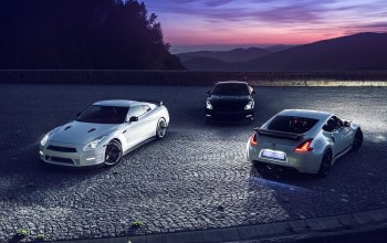 mountain,370z,White,r35,sky,nigth,lights,rear