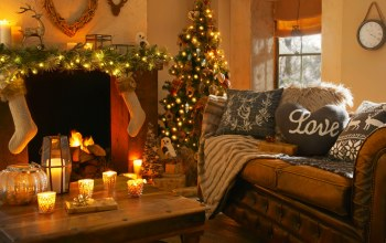 christmas tree lights,интерьер,heart,candles,interior,камин,fireplace
