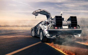 back to the future,dmc-12,Road,rear,fire,silvery,delorean