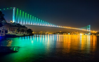 Istanbul,bosphorus bridge,sea of marmara,buildings,lights,turkey