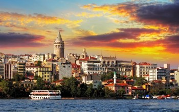 Sunset,ferry,galata tower ,turkey,sea of marmara,buildings,Istanbul