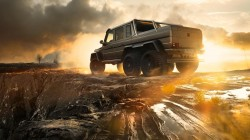 g63,sky,6x6,rear,Sunset,mercedes-benz,amg,smoke,ligth,Off-road