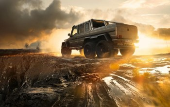 g63,sky,6x6,rear,Sunset,smoke,ligth
