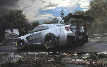 Track,spoiler,kit,rear,r35,body,car,Race