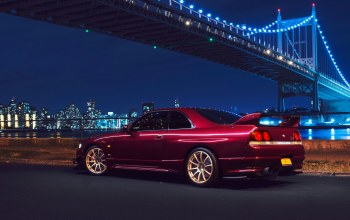 R33,car,Nyc,skyline,chery,nigth,new york,rear,bridge,sport