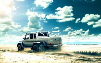 rear,gelandewagen,6x6,clouds,beach,g63