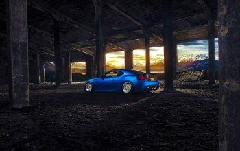 rear,blue,mountain,sport,wheels,stanceworks,car