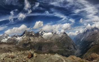 mountains,zermatt,Switzerland,stones,clouds,sky