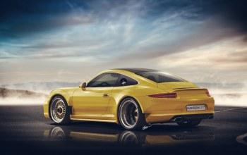 rear,widebody,hansen art,yellow,Porsche 911