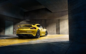 supercar,porsche,cayman,rear,yellow,2015