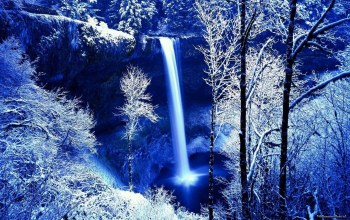 snow,water,waterfall,tree,winter