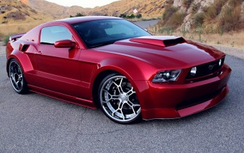 Ford mustang gt,rims,Red,wide body kit