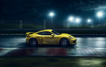 cayman,nigth,porsche,supercar,2015,ligth,side,yellow,Speed,Track