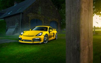 supercar,yellow,porsche,summer,cayman,Color,grass