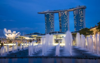 lights,architecture,skyscrapers,gardens by the bay,Fountains,Singapore,sky,blue