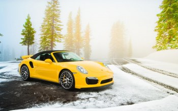 Road,cabriolet,supercar,yellow,snow,turbo s,spruce,991,porsche