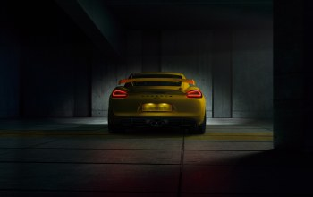 2015,yellow,cayman,supercar,porsche,rear,ligth