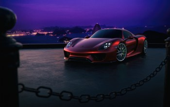 supercar,Color,sky,porsche,Purple,918,Red