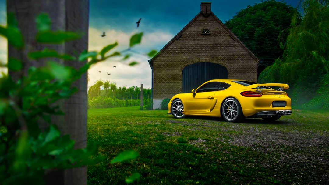 car,Color,cayman,porsche,summer,yellow,rear