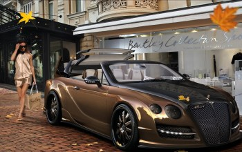 bentley continental,паркинг,улица,осень