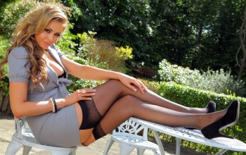 sexy,Leah Francis,woman,dress,legs,stockings,heels
