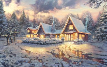 movie,winter,Christmas lodge,thomas kinkade presents,house,film,thomas kinkade,snow