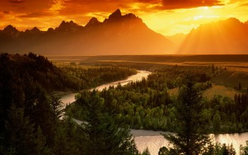 mountains,river,forest,Sunset