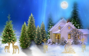 light,snow,christmas,village,winter