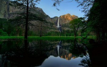 Yosemite,tree,river,water,mountain,rock,waterfall
