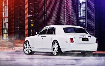 White,street,Rolls royce,phantom