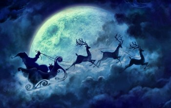 blue,Santa,christmas,reindeer,cloud,flying,sleigh