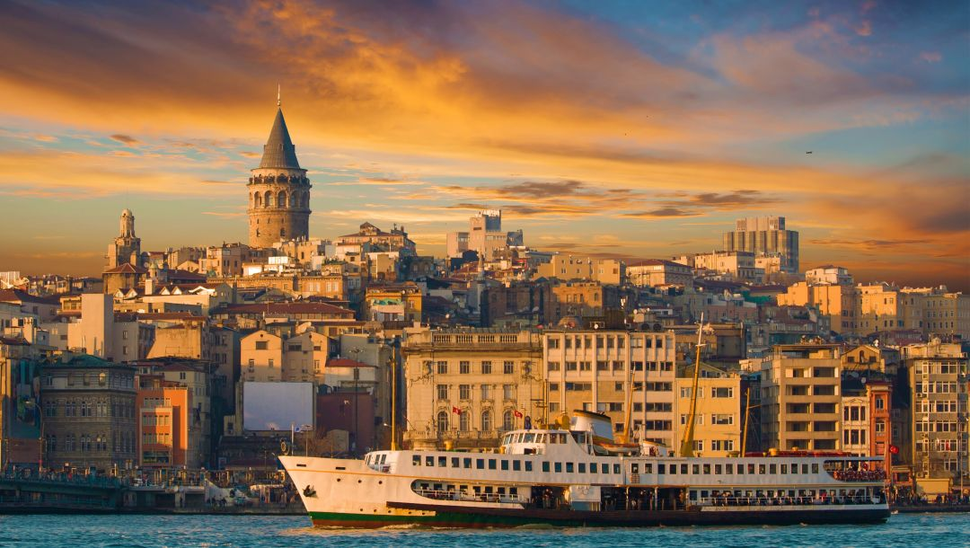 galata tower ,turkey,ferry,landscape,Istanbul,sea of marmara,buildings