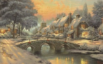 домики,cobblestone christmas,picture,картина,рисунок,thomas kinkade