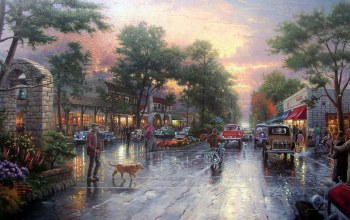 carmel sunset on ocean avenue,painting,houses,town,avenue,kinkade,cars,thomas kinkade