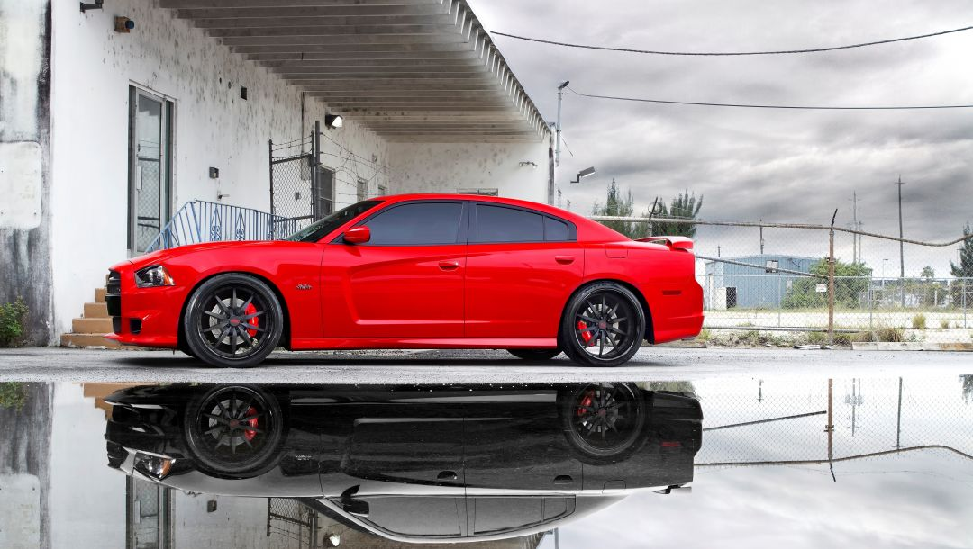 reflection,додж,срт8,charger,dodge,miami,чарджер,Red,puddle