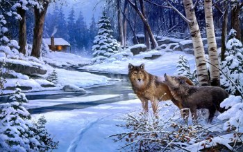 snow,wolves,forest,cabin,river,winter