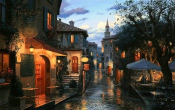 cafe,Umbrellas,Magic evening,evening,painting,houses,street,Bar,tables,eugeny lushpin