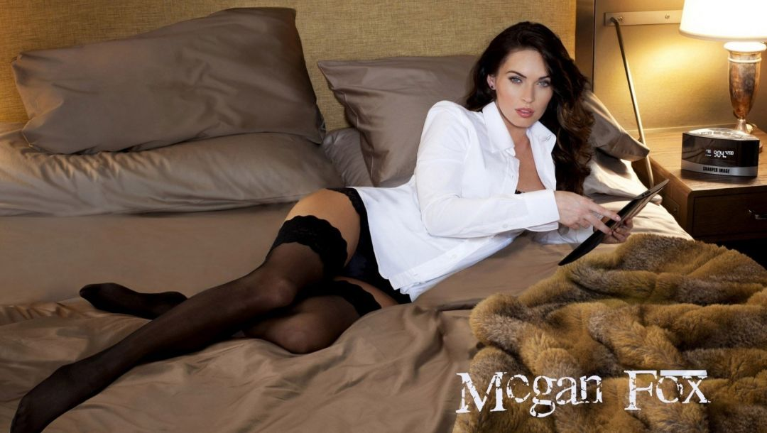 stockings,tablet,in bed,in white shirt,megan fox