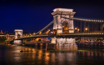 ночь,будапешт,chain bridge,Залив,фонари