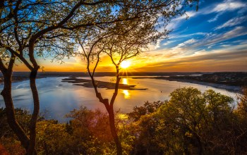 river,Sunset,sky,tree,clouds