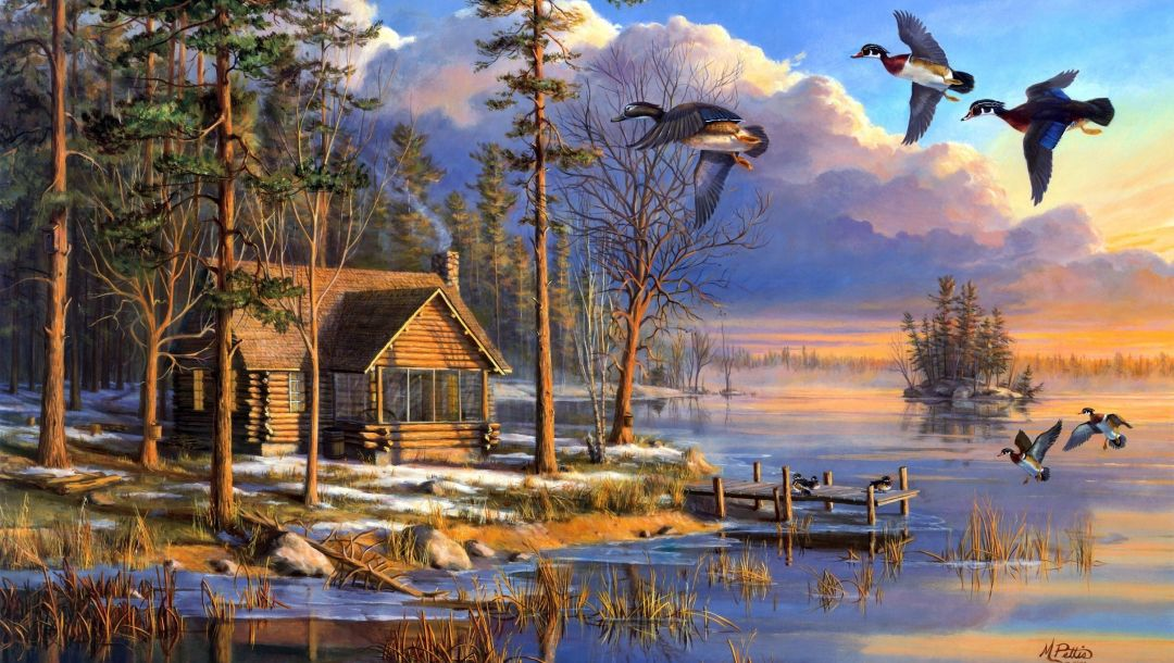 spring,painting,flying,sunrise,house,forest,mary pettis,ducks,Spring arrivals