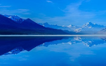 sky,Lake Pukaki,south island,new zealand,mountains,reflection