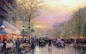 france,le boulevard des lumieres at dusk,painting,paris,thomas kinkade,city of lights